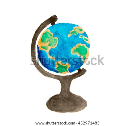 Watercolor globe on a white background