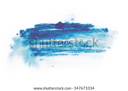 Watercolor, gouache paint. Blue Abstract stains splatter splashes with rough texture - stock photo