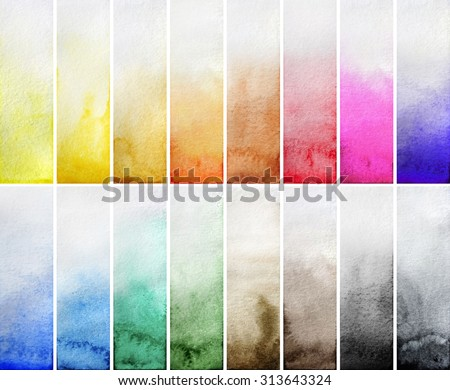 Watercolor gradient rectangles. Multi color design elements isolated on white background. Easy to cut - stock photo