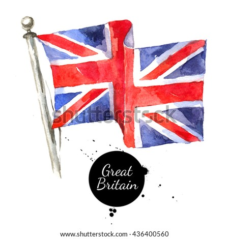 Watercolor Great Britain, United Kingdom flag. Hand drawn illustration on white background