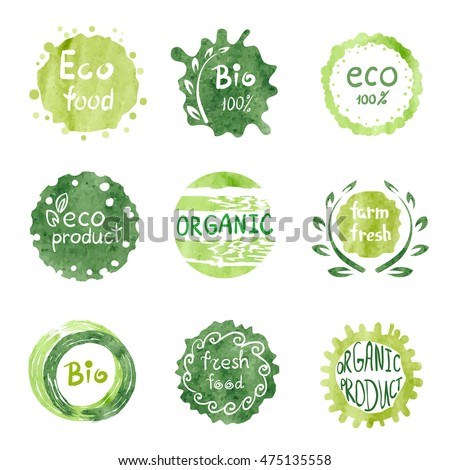 Watercolor green Eco food labels set. Hand drawn Bio signs Raster version.
