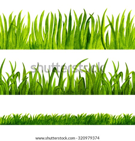 Watercolor green grass isolated on white background set. Hand painting on paper