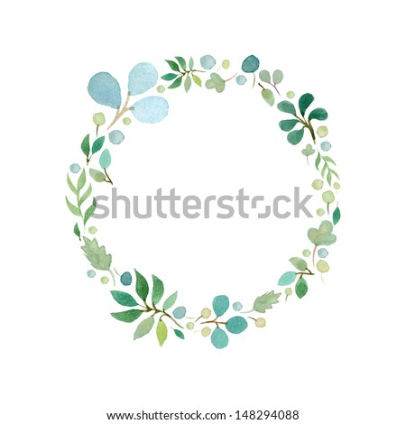 Watercolor green leafs frame template 1 - stock photo