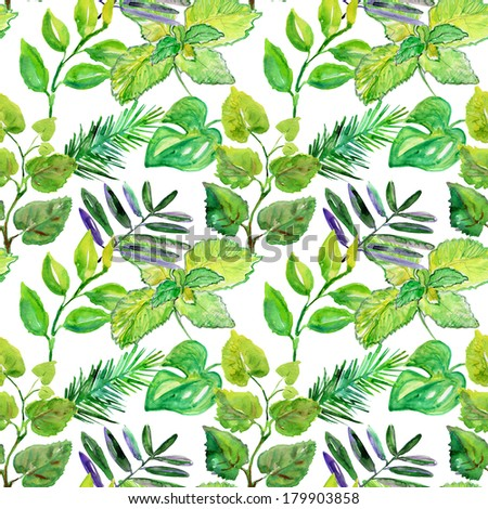 Watercolor green leaves seamless patter - stock photo