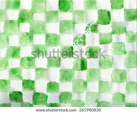 Watercolor green painted chess geometric horizontal background - stock photo