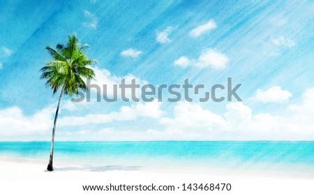 watercolor grunge image of beach - stock photo