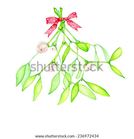 Watercolor hand drawn bouquet of mistletoe branches with berries and red bow. - stock photo