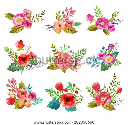 Watercolor hand drawn  buttonholes with colorful flowers and leaves. The art paint on white background - stock photo