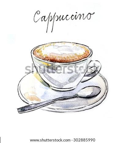Watercolor hand drawn coffee cappuccino - Illustration - stock photo