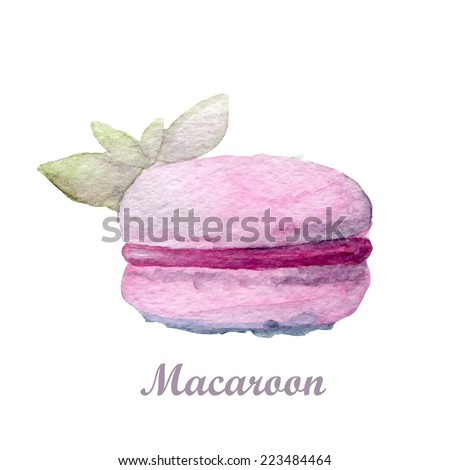 Watercolor hand drawn cupcake and coffee isolated on white.  - stock photo