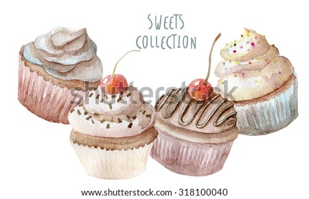 Watercolor hand drawn cupcakes background - stock photo