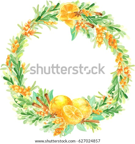 Watercolor hand drawn floral wreath with oranges, cinnamon and sea buckthorn. Round watercolor frame. Watercolor hand painted border. Orange bright and warm floristic composition. Spicy cozy wreath