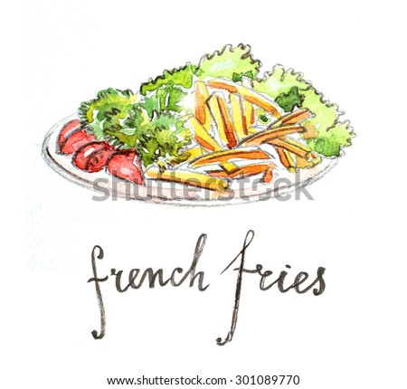 Watercolor hand drawn french fries - Illustration