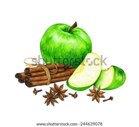 Watercolor hand drawn green sliced apples with cinnamon sticks, cloves and star anise. - stock photo