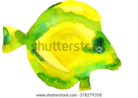 Watercolor hand drawn illustration of bright yellow tropical tang aquarium fish on white background artwork freehand design textile print greeting card  - stock photo