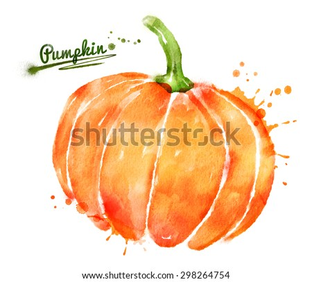 Watercolor hand drawn illustration of pumpkin with paint splashes. - stock photo