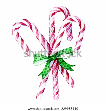 Watercolor hand drawn mint hard candy canes striped in christmas colors with green bow isolated on a white background. - stock photo