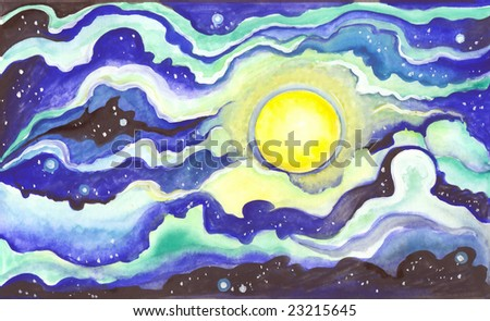 Watercolor hand drawn picture - moon at night - stock photo