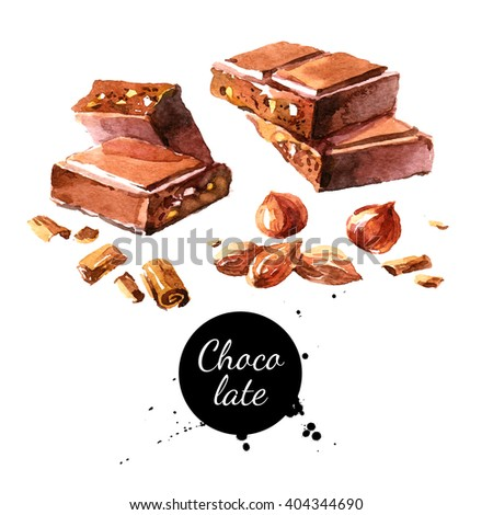 Watercolor hand drawn pieces of chocolate and nuts. Isolated sweet food vector illustration on white background - stock photo