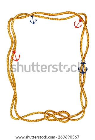 Watercolor hand drawn rope frame in nautical style with red and indigo anchors on a white background.