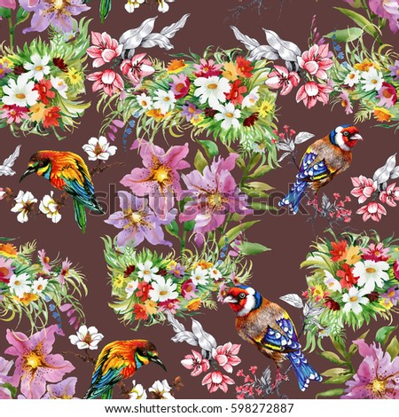 Watercolor hand drawn seamless colorful pattern with beautiful flowers and birds on brown background