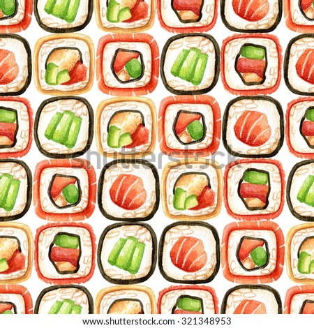 Watercolor hand drawn seamless pattern with different types of fresh sushi rolls. Japanese food background