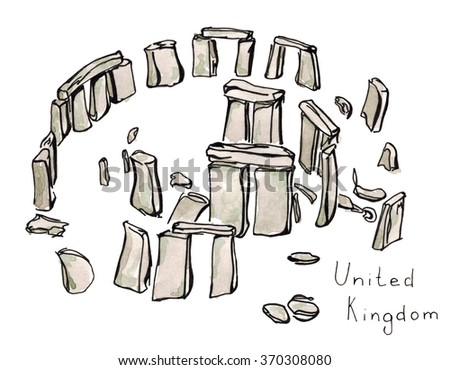 Watercolor Hand drawn sketch illustration architecture landmark of Stonehenge United Kingdom with lettering isolated - stock photo