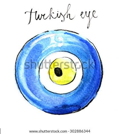 Watercolor hand drawn turkish eye (souvenir) - Illustration - stock photo