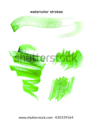 Watercolor hand drawn watercolor strokes, artistic colorful paint drops isolated on white background. Ink drawing. Logo backdrop template. - stock photo
