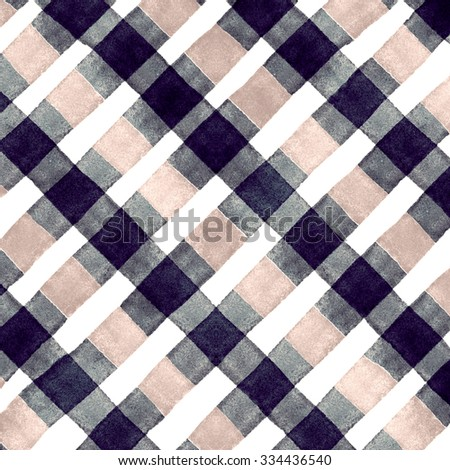Watercolor hand painted brush strokes, black, dirty yellow and white striped background, Abstract bright colorful watercolor background, brown Checkered pattern - stock photo