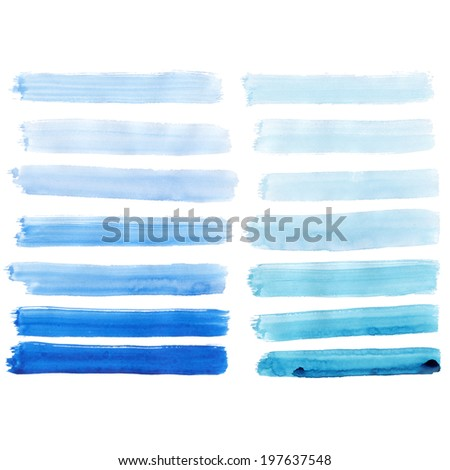 Watercolor hand painted brush strokes, Blue banners. Isolated on white background.  - stock photo