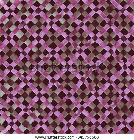 Watercolor hand painted brush strokes, bright pink and dark red colorful checkered striped background, Abstract bright colorful watercolor background, brown Checkered pattern - stock photo