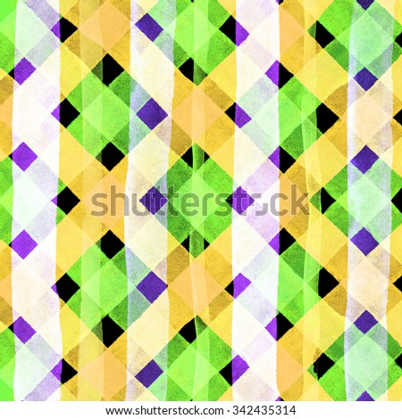 Watercolor hand painted brush strokes, bright yellow colorful striped background, Abstract bright colorful watercolor background, brown Checkered pattern - stock photo