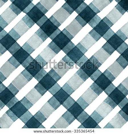 Watercolor hand painted brush strokes, dirty green, blue and white striped background, Abstract bright colorful watercolor background, brown Checkered pattern - stock photo