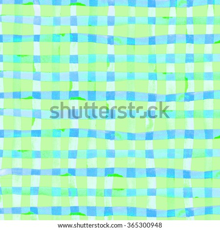 Watercolor hand painted brush strokes, green and blue striped background, Abstract bright colorful watercolor background, Checkered pattern. - stock photo