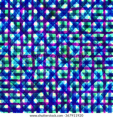 Watercolor hand painted brush strokes, green, blue and purple striped background, Abstract bright colorful watercolor background, Checkered pattern. - stock photo