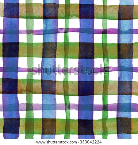 Watercolor hand painted brush strokes, green, dirty yellow, blue and white striped background, Abstract bright colorful watercolor background, brown Checkered pattern - stock photo