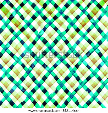 Watercolor hand painted brush strokes, green, orange and yellow striped background, Abstract bright colorful watercolor background, Checkered pattern - stock photo