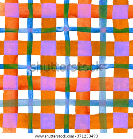Watercolor hand painted brush strokes, multicolored striped background, Abstract bright colorful watercolor background, purple, orange, green and yellow Checkered pattern. - stock photo