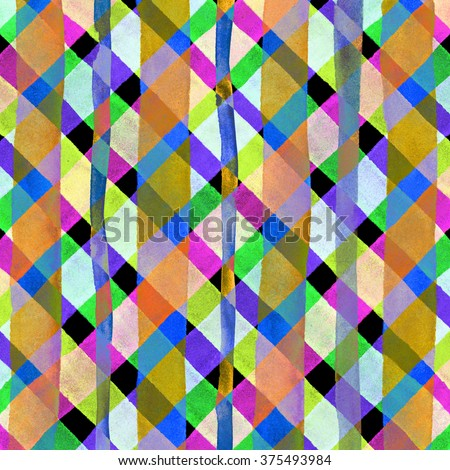 Watercolor hand painted brush strokes, multicolored striped background, Abstract bright colorful watercolor background, Checkered pattern. - stock photo