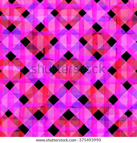 Watercolor hand painted brush strokes, multicolored striped background, Abstract bright colorful watercolor background, pink and purple checkered pattern. - stock photo