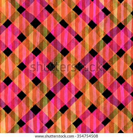 Watercolor hand painted brush strokes, orange and red, yellow striped background, Abstract bright colorful watercolor background, Checkered pattern. - stock photo