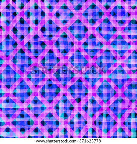 Watercolor hand painted brush strokes, purple pink blue striped background, Abstract bright colorful watercolor background, Checkered pattern. - stock photo