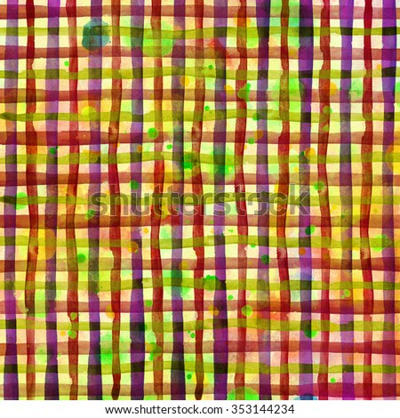 Watercolor hand painted brush strokes, red, green and yellow striped background, Abstract bright colorful watercolor background, Checkered pattern - stock photo