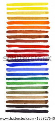 Watercolor hand painted brush strokes. Spectrum - stock photo