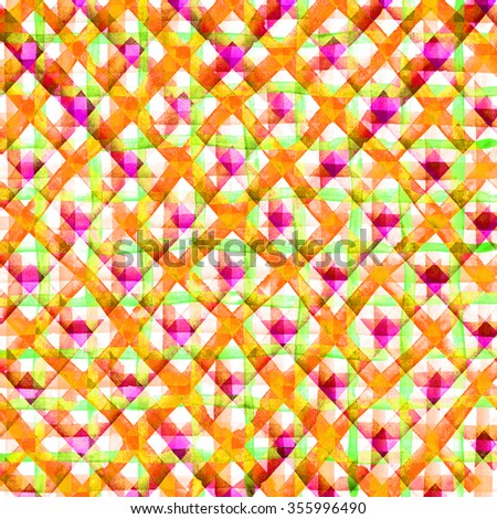 Watercolor hand painted brush strokes, yellow, pink striped background, Abstract bright colorful watercolor background, Checkered pattern.