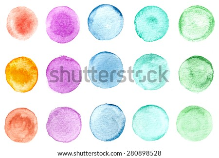 Watercolor hand painted circles - stock photo