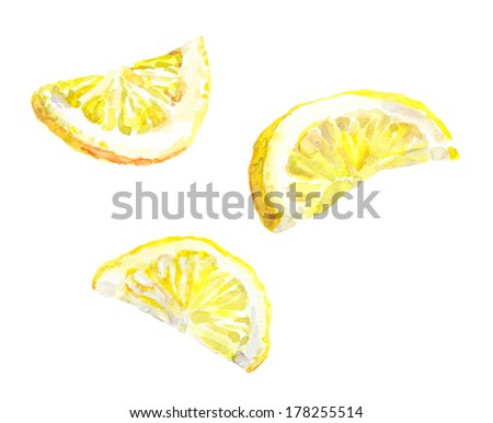 Watercolor hand painted lemon slices isolated on white background - stock photo
