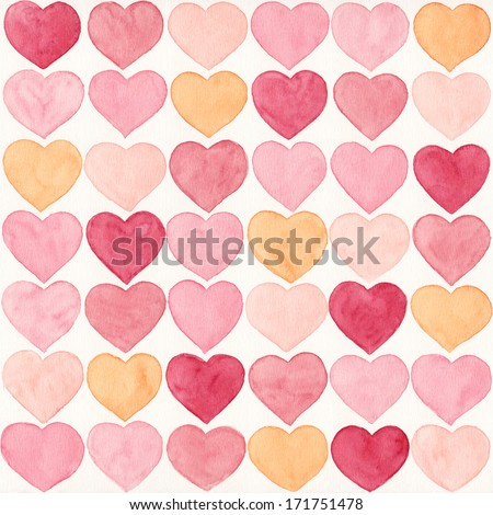 Watercolor hand painted pattern. Background with hearts in warm pastel colors. For wedding decorations or on St. Valentine's day. - stock photo