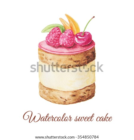 Watercolor hand painted sweet and tasty cake with raspberries, cherry and other berries on it.  Fruit dessert can be used for card, postcard, wedding card, invitation, birthday card, menu, recipe.  - stock photo